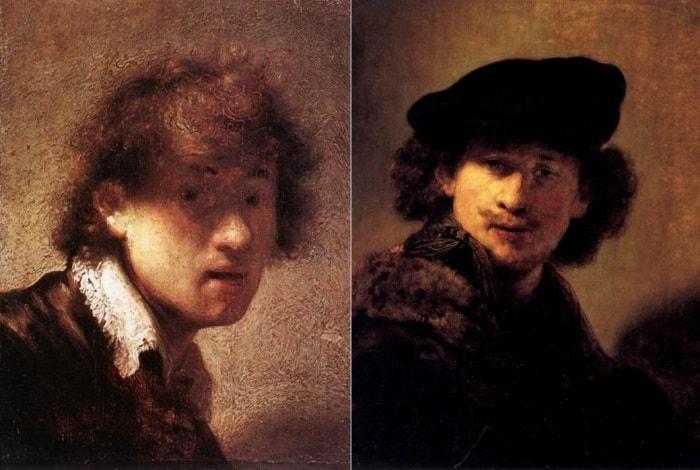 Рембрандт. Автопортреты 1629 и 1634 гг. | Фото: rembr.ru