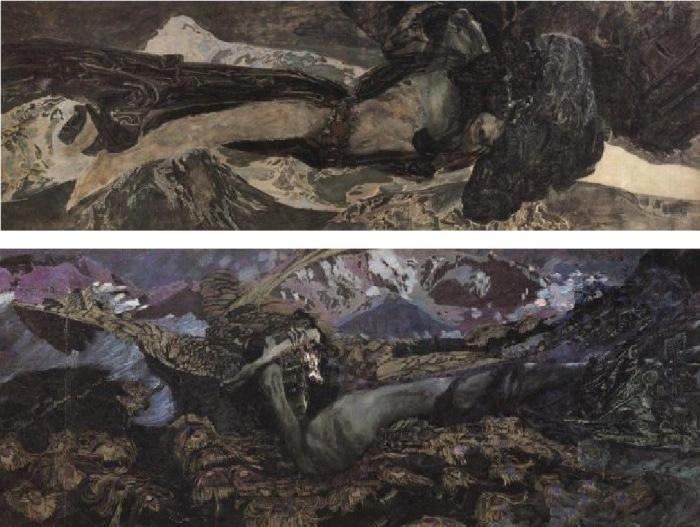 Михаил Врубель. Демон летящий, 1899 г. (вверху) Демон поверженный, 1902 г. (внизу)