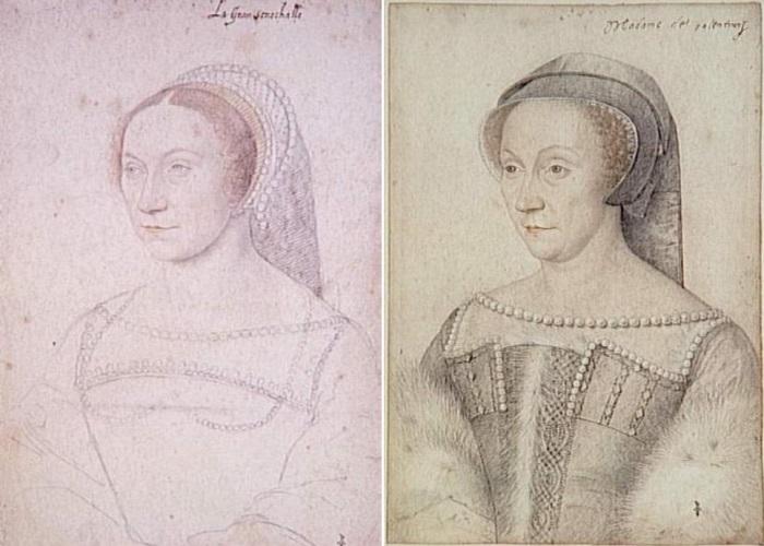 Ф. Клуэ. Диана де Пуатье, портреты 1540 и 1555 гг. | Фото: photoshare.ru