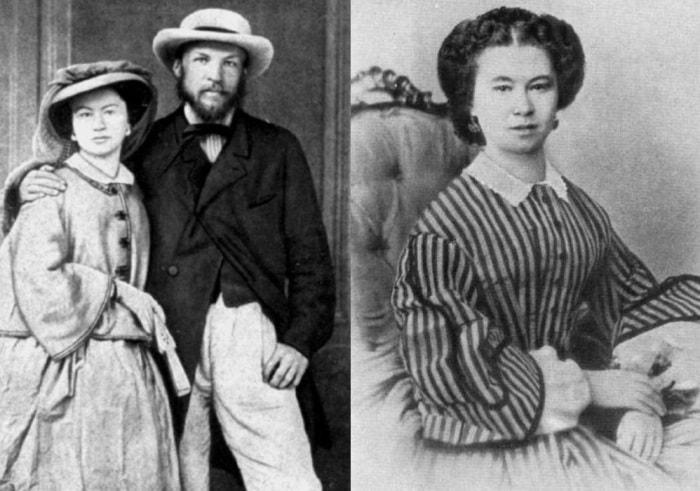 Слева – Д. Менделеев с женой Феозвой Никитичной, 1862. Справа – Феозва Лещева | Фото: ownlib.ru и nnm.me