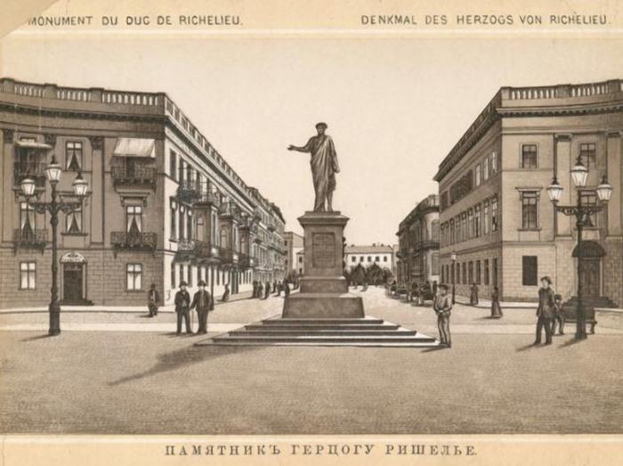 Памятник герцогу де Ришелье. Открытка 1905 г. | Фото: photo.qip.ru