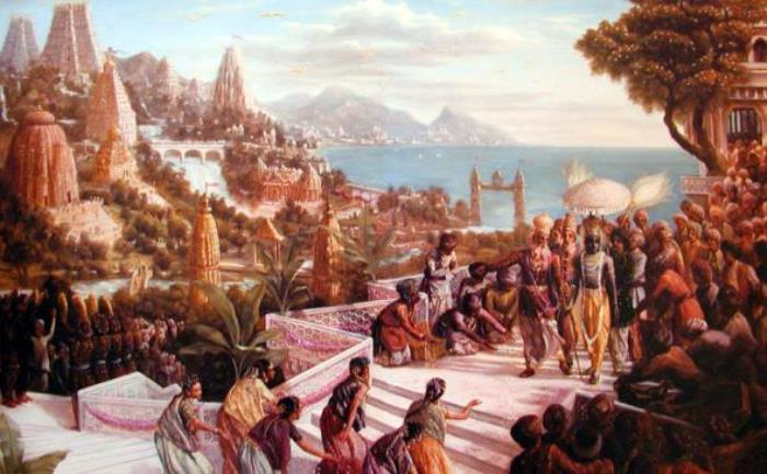 Кришна входит в Двараку