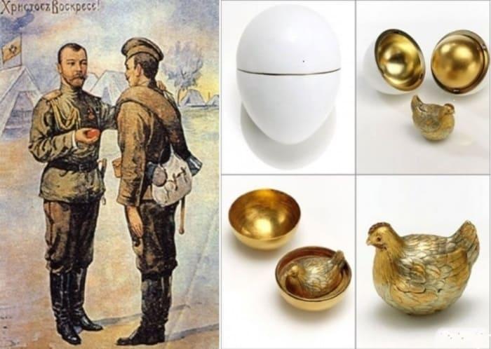 Слева – Пасхальная открытка с Николаем II, 1916. Справа – первое пасхальное яйцо Фаберже | Фото: worontsovpalace.org