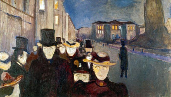 Эдвард Мунк. Улица Карла Иоганна вечером, 1892 г.