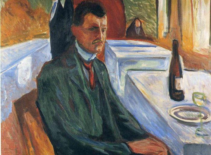 Эдвард Мунк. Автопортрет с бутылкой вина, 1906 | Фото: artchive.ru