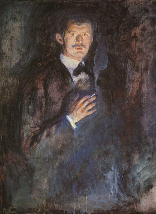 Эдвард Мунк. Автопортрет с зажженной сигаретой, 1895   Фото: artchive.ru