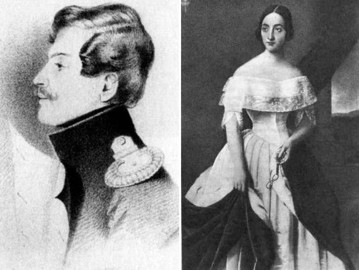 Слева – Т. Райт. Барон Жорж Шарль Дантес, 1835. Справа – Н. Вельц. Е. Дантес де Геккерн, 1840