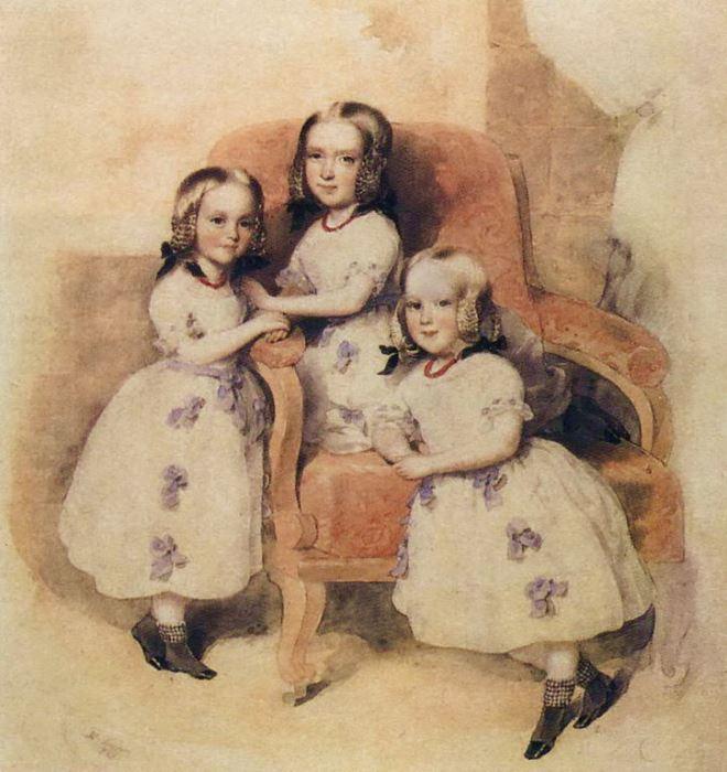 Л. Фишер. Дочери барона и баронессы Геккерн: Леони, Матильда, Берта, 1843