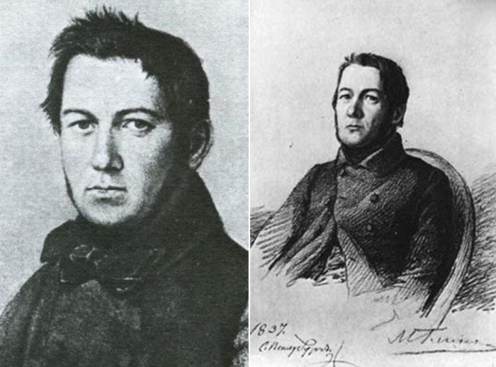 Слева – Я. Яненко. Портрет Михаила Глинки, 1840-е гг. Справа – Портрет М. Глинки, 1837