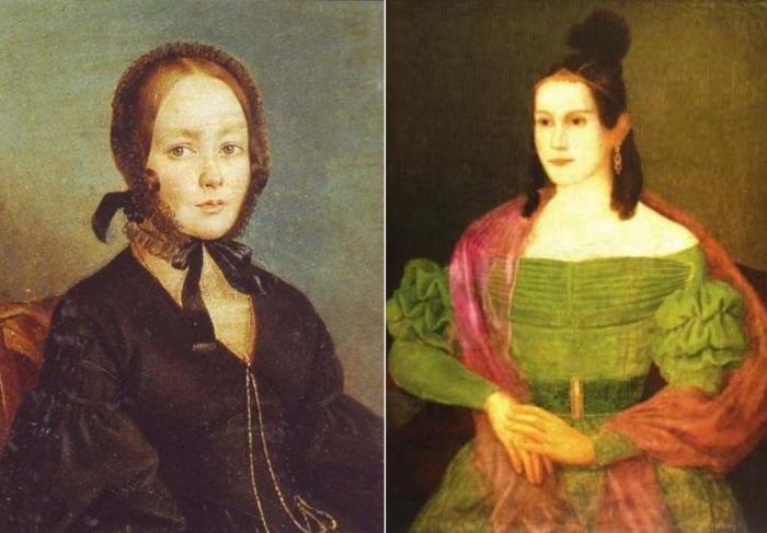 Слева – А. Арефьев-Богаев. Предполагаемый портрет Анны Керн, 1840-е гг. Справа – Неизвестный художник. Портрет дочери Анны Керн, Екатерины Ермолаевны