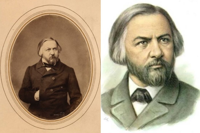 Слева – М. Глинка. Фото С. Левицкого, 1856. Справа – рисунок с фото Левицкого   Фото: liveinternet.ru