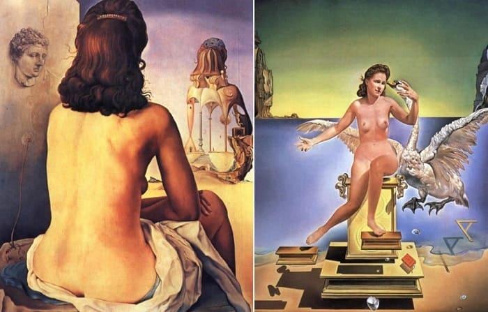 Сальвадор Дали. Слева – *Атомная Леда*. Справа – *Моя жена, обнаженная, смотрит на собственное тело* | Фото: personallife.ru