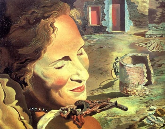 Сальвадор Дали. Портрет Галы с двумя ребрышками ягненка, балансирующими на ее плече | Фото: personallife.ru