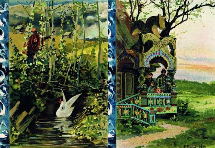 Е.Д. Поленова. Иллюстрации к сказке *Белая уточка*