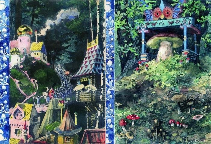 Е. Д. Поленова. Иллюстрации к сказке *Война грибов*
