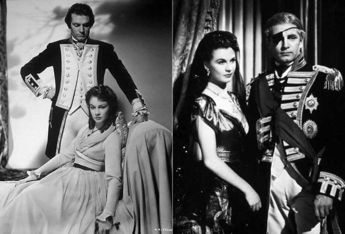 Вивьен Ли в роли леди Гамильтон и Лоуренс Оливье в роли адмирала Нельсона, 1941