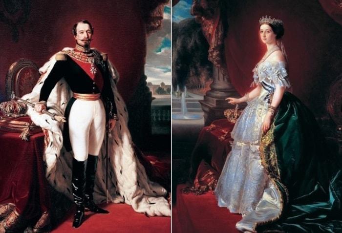 Ф. К. Винтерхальтер. Слева – Наполеон III, император Франции, 1853. Справа –  императрица Евгения, 1853 | Фото: gallerix.ru