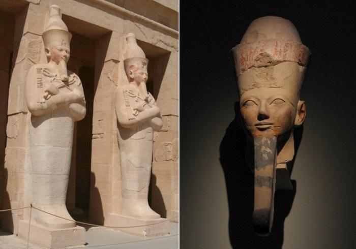 Слева – парные осирические статуи Хатшепсут перед храмом в Дейр эль-Бахри. Справа – осирическая голова Хатшепсут из храма в Дейр-эль-Бахри. Метрополитен-музей, Нью-Йорк | Фото: maxpark.com