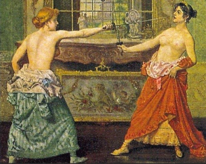 Доменико Мастальо. *Дамская дуэль*. Почтовая карточка, 1905