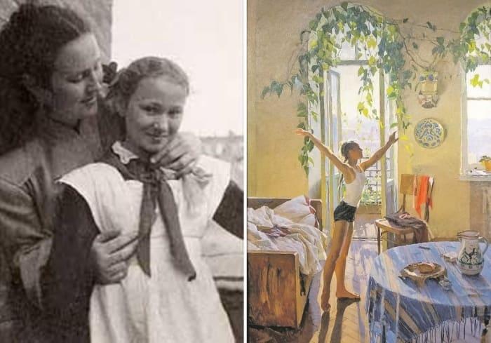 Татьяна Яблонская с дочерью Еленой и ее знаменитая картина *Утро* | Фото: fakty.ua