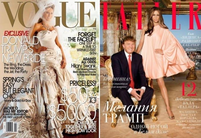 Мелания Трамп на обложках журналов | Фото: glavcom.ua и beztabu.net