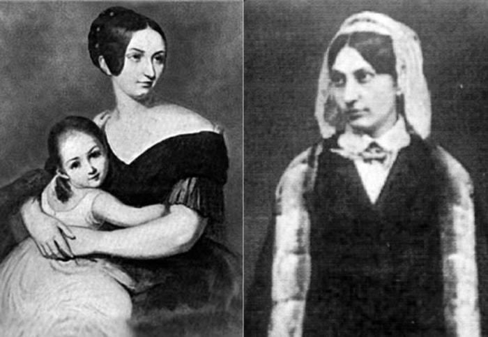 Слева – Каролина Витгенштейн с дочерью, 1840. Справа –  Каролина Витгенштейн, 1847 | Фото: record-music.ru и radikal.ru