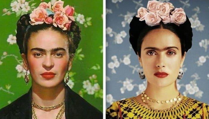 Художница Фрида Кало и актриса Сальма Хайек, воплотившая ее образ в кино | Фото: fishki.net