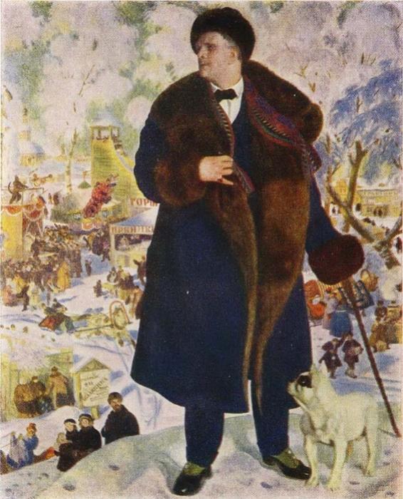Б. Кустодиев. Портрет Федора Шаляпина, 1921