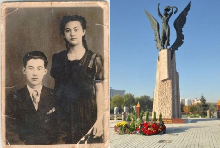 Галина Дубеева с братом Александром. Памятник Галине в городе Суйфэньхэ, Китай