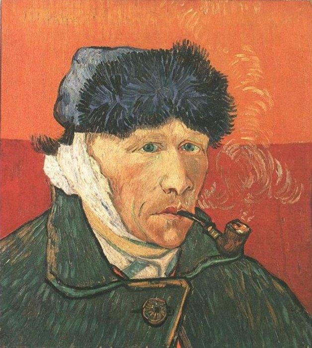 Винсент Ван Гог. Автопортрет с перевязанным ухом и трубкой, 1889 г.