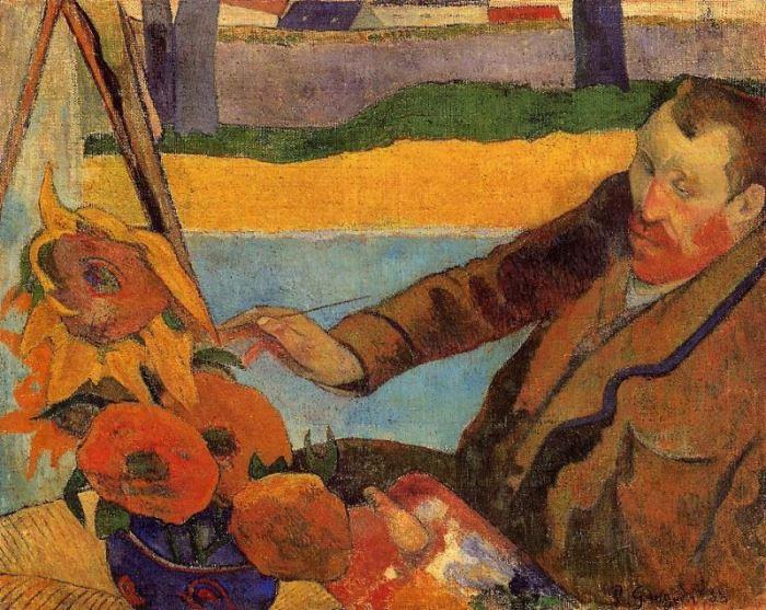 Поль Гоген. Ван Гог рисует подсолнухи, 1888 г.