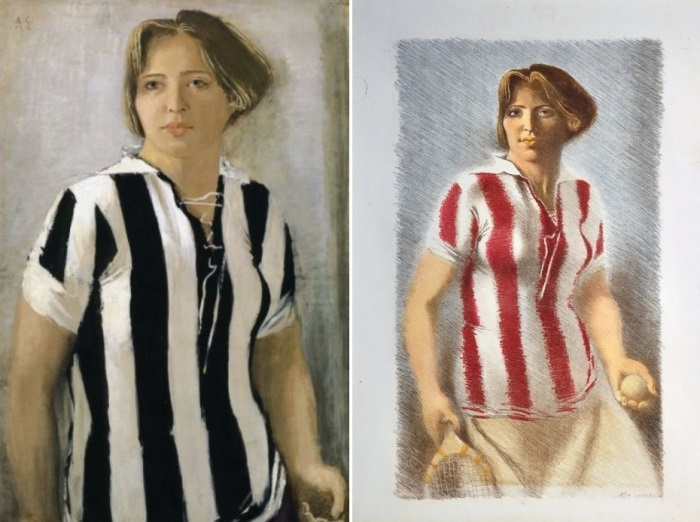 А. Самохвалов. Девушка в футболке, варианты 1930 и 1932 гг. | Фото: virtualrm.spb.ru