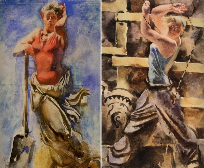 А. Самохвалов. Слева – С лопатой, 1934. Справа – У лебедки, 1934 | Фото: virtualrm.spb.ru