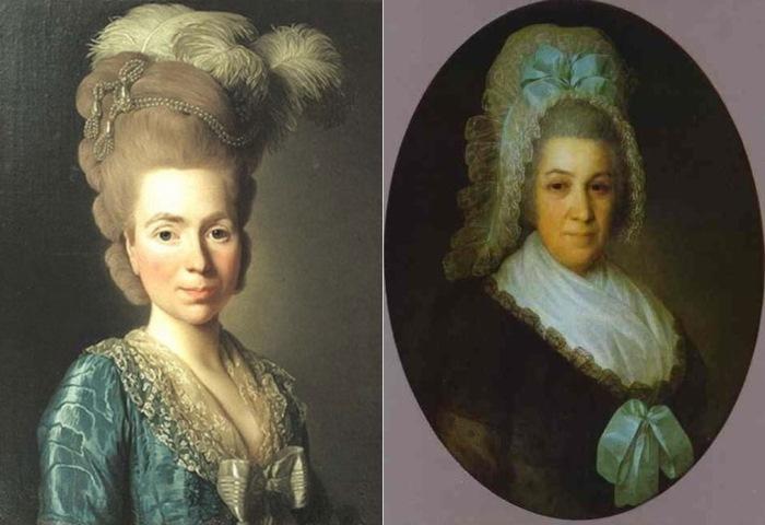 Слева – А. Рослин. Портрет Н. П. Голицыной, урожденной Чернышевой, 1777. Справа – Ф. С. Рокотов. Портрет неизвестной в белом чепце, 1790-е