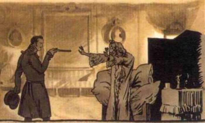 А. Бенуа. Иллюстрация к *Пиковой даме*. Германн угрожает графине пистолетом