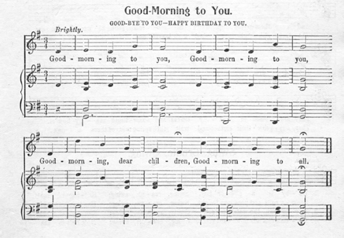 Одна из напечатанных версий песни *Good Morning to You*, музыка которой используется в песне *Happy Birthday*. *Книга песен для начинающих*, Cable Company, 1912   Фото: lpgenerator.ru