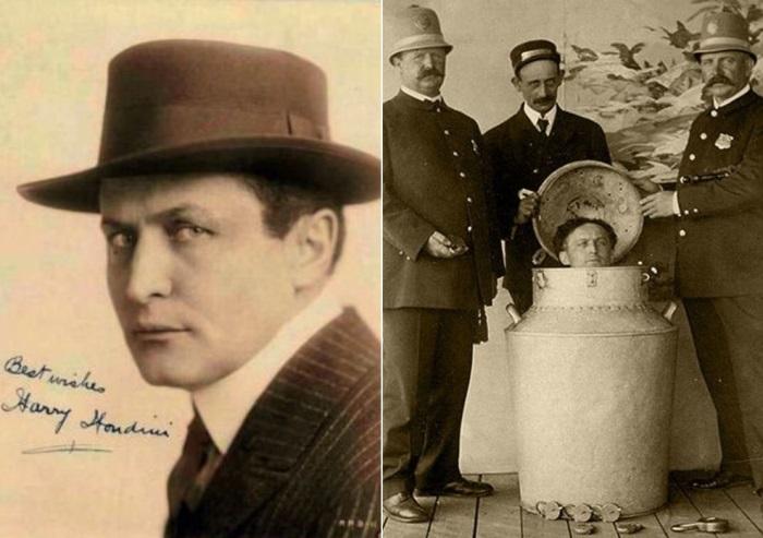 Гарри Гудини выполняет один из самых известных трюков – освобождение из бидона с молоком | Фото: photobucket.com и liveinternet.ru