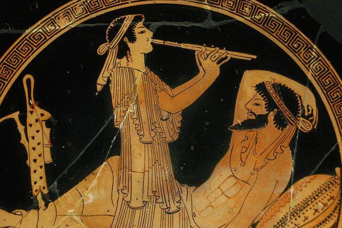 Гетера на банкете. Фрагмент чаши, 490 г. до н.э.