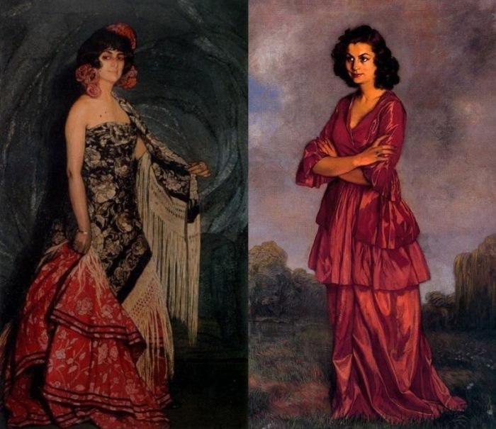 Игнасио Сулоага-и-Сабалета. Слева – Портрет доньи Антонии. Справа – Портрет Кармен Арконадо