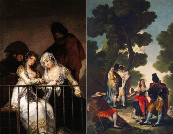 Франсиско Гойя. Слева – Махи на балконе. Справа – Маха со своими поклонниками или прогулка по Андалусии