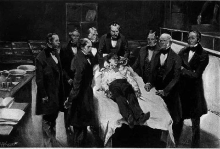 Первая публичная демонстрация наркоза в хирургии, 1846 | Фото: helpiks.org
