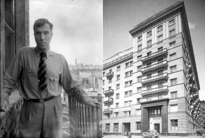 Борис Пастернак на балконе квартиры в Доме писателей, 1948 | Фото: topos.memo.ru и culture.ru
