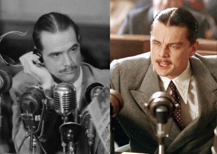 Говард Хьюз в реальной жизни и в исполнении Леонардо ди Каприо | Фото: onedio.com