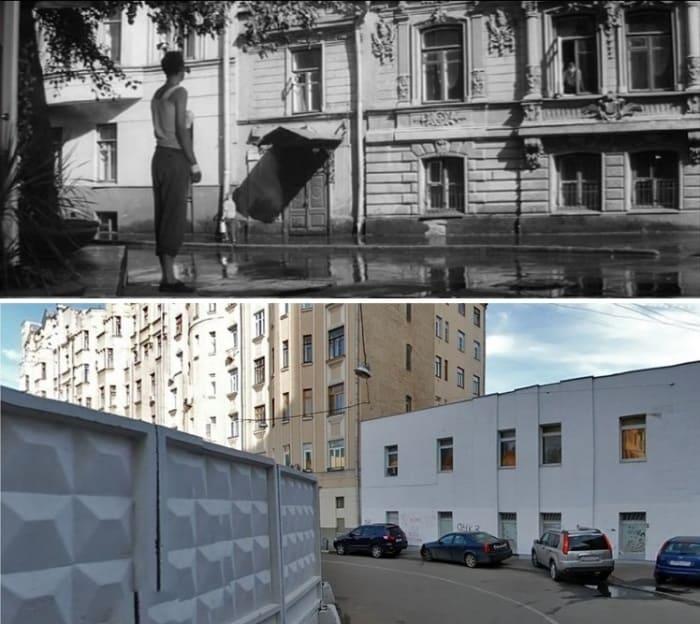 Московские улицы в фильме начала 1960-х гг. и в наше время | Фото: progulkino.livejournal.com