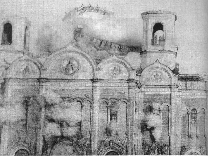 Храм Христа Спасителя в момент взрыва, 1931. Фото Ильи Ильфа | Фото: chtoby-pomnili.net