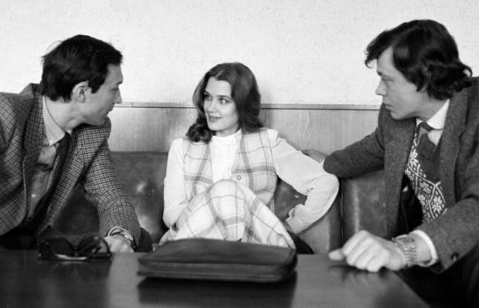 Актриса со звездами *Ленкома* Олегом Янковским и Николаем Караченцовым, 1984 | Фото: minsknews.by