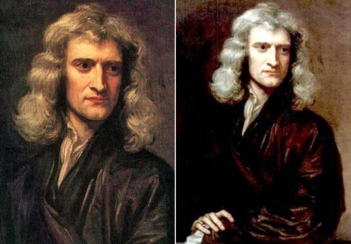 Слева – Г. Кнеллер. Портрет Исаака Ньютона, 1689. Справа – копия портрета, написанного Г. Кнеллером в 1689 г. | Фото: old.mirf.ru