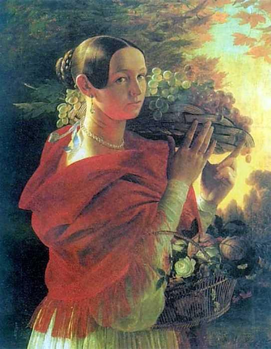 И Хруцкий. Портрет молодой женщины с корзиной, 1835 | Фото: artsait.ru