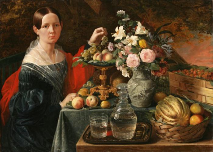 И Хруцкий. Портрет неизвестной с цветами и фруктами, 1838 | Фото: artinvestment.ru