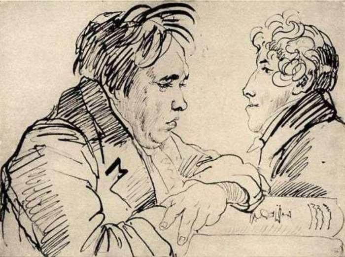 И. А. Крылов и неизвестный. Рисунок О. Кипренского из альбома Олениных, 1810-е | Фото: a-s-pushkin.ru